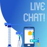 Texttecken som visar Live Chat Begreppsmässig fotorengöringsdukservice som låter affärer eller vänner meddela personalarbete vektor illustrationer