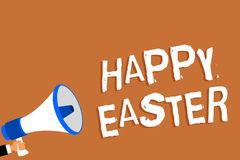 Texttecken som visar lycklig påsk Kristen festmåltid för begreppsmässigt foto som firar minnet av uppståndelsen av Jesus Man den  vektor illustrationer