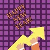 Texttecken som visar lyckligt nytt år Glad Xmas för begreppsmässiga fotolyckönskan alla börja av Januari royaltyfri illustrationer