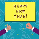 Texttecken som visar lyckligt nytt år Glad Xmas för begreppsmässiga fotolyckönskan alla börja av Januari stock illustrationer