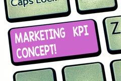 Texttecken som visar marknadsföra det Kpi begreppet Begreppsmässig effektivitet för fotomått av aktioner i tangentbord för markna royaltyfri bild