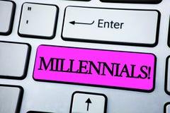 Texttecken som visar Millennials Motivational appell Begreppsmässig fotoutveckling Y som uthärdas från 80-tal till 2000s som är s Royaltyfria Bilder