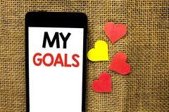 Texttecken som visar mina mål Vision för mål för begreppsmässigt för fotomålsyfte som för strategi för beslutsamhet plan för karr Arkivbild