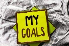 Texttecken som visar mina mål Vision för mål för begreppsmässigt för fotomålsyfte som för strategi för beslutsamhet plan för karr Royaltyfri Bild