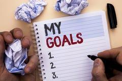 Texttecken som visar mina mål Vision för mål för begreppsmässigt för fotomålsyfte som för strategi för beslutsamhet plan för karr Arkivbilder
