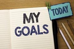 Texttecken som visar mina mål Vision för mål för begreppsmässigt för fotomålsyfte som för strategi för beslutsamhet plan för karr Arkivfoto