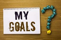Texttecken som visar mina mål Vision för mål för begreppsmässigt för fotomålsyfte som för strategi för beslutsamhet plan för karr Fotografering för Bildbyråer