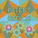 Texttecken som visar patentkontoret Begreppsmässigt foto ett kansli som gör beslut om att ge patent två stock illustrationer