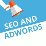 Texttecken som visar Seo och Adwords stock illustrationer