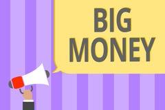 Texttecken som visar stora pengar Begreppsmässigt foto som gäller till många ernings från ett jobb, en affär, arvingar eller en s stock illustrationer