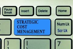 Texttecken som visar strategisk kostnadsledning Begreppsmässigt foto som kombinerar beslutsfattande med att budgetera för kostnad stock illustrationer