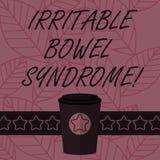Texttecken som visar syndrom för retlig tarm Begreppsmässigt gälla för fotooordning som är buk- smärtar, och kaffe för diarré 3D  vektor illustrationer
