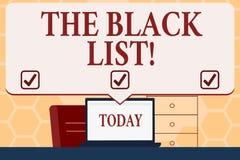 Texttecken som visar TheBlack lista den begreppsmässiga fotolistan av demonstratings som ogillas av eller ska bestraffas stock illustrationer
