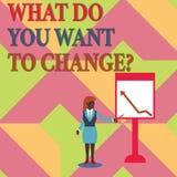 Textteckenuppvisning vad dig önskar till Changequestion Begreppsmässigt mål för beslut för fotostrategiplanläggning royaltyfri illustrationer