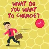 Textteckenuppvisning vad dig önskar till Changequestion Begreppsmässigt mål för beslut för fotostrategiplanläggning stock illustrationer