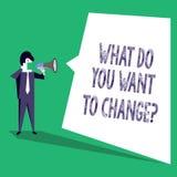 Textteckenuppvisning vad dig önskar till Changequestion Begreppsmässigt mål för beslut för fotostrategiplanläggning vektor illustrationer