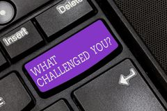 Textteckenuppvisning vad utmanade dig Begreppsmässig fotoappell någon som deltar i konkurrenskraftigt lägetangentbord arkivbild