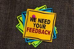 Textteckenvisningen behöver vi din återkoppling Det begreppsmässiga fotoet ger oss dina granskningtankar kommentarer vad för att  arkivbilder