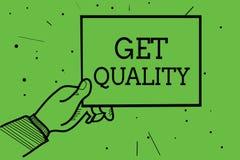 Textteckenvisningen får kvalitet Begreppsmässiga fotosärdrag och kännetecken av produkten som tillfredsställer papper för innehav stock illustrationer