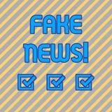 Textteckenvisningen fejkar nyheterna Falska berättelser för begreppsmässigt foto som verkar att fördela på internet genom att anv vektor illustrationer