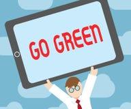 Textteckenvisningen går grön Det begreppsmässiga fotoet som gör mer miljövänlig beslut förminskar så, återanvänder royaltyfri illustrationer
