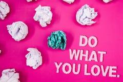 Textteckenvisningen gör vad du älskar Uttrycker positiv Desire Happiness Interest Pleasure Happy för det begreppsmässiga fotoet p royaltyfria foton