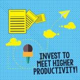 Textteckenvisningen investerar för att möta högre produktivitet Det begreppsmässiga fotoet gör investeringar för växande informat vektor illustrationer