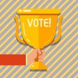 Textteckenvisningen röstar Begreppsmässigt foto formaliserat beslut på viktiga frågor som väljer det guld- handinnehavmellanrumet royaltyfri illustrationer