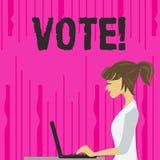 Textteckenvisningen röstar Begreppsmässigt foto formaliserat beslut på viktiga frågor som väljer fotoet av den unga upptagna kvin vektor illustrationer