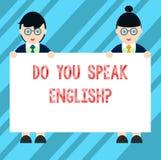 Textteckenvisningen talar du Englishquestion Kvinnligt begreppsmässigt foto som talar lära den olika språkmannen och royaltyfri illustrationer