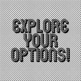 Textteckenvisningen undersöker dina alternativ Begreppsmässigt foto som försöker att få mer information för att göra ett beslut s royaltyfri illustrationer