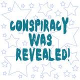 Texttecknet som visar komplott, avslöjdes Det begreppsmässiga fotoet som aktiviteten av i hemlighet planerat släpptes loss, skiss royaltyfri illustrationer