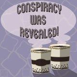 Texttecknet som visar komplott, avslöjdes Det begreppsmässiga fotoet aktiviteten av i hemlighet planerat släpptes loss två som gå vektor illustrationer
