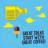 Texttecknet som visar stora idéer, startar med stort kaffe Det begreppsmässiga fotoet har en varm drink som får inspirerad inform royaltyfri illustrationer