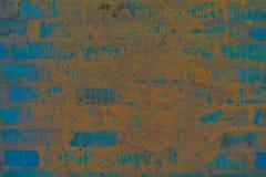 Textur av bakgrundsväggen blå tegelsten med cementmurbruk grunge arkivfoton