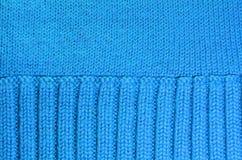 Textur av blå woolen stucken bakgrund Royaltyfria Foton