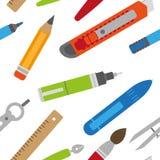 Textur av den färgrika stationära uppsättningen i plan stil Stock Illustrationer