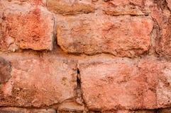 Textur av den gamla väggen för röd tegelsten Arkivfoto