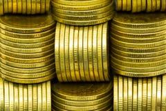 Textur av det guld- myntet Fotografering för Bildbyråer