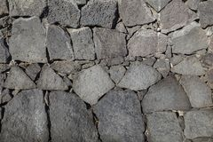 Textur av det svarta vulkaniskt vaggar väggen från Lanzarote, kanariefågel I arkivbild