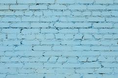 Textur av ett gammalt ljus - blå tegelstenvägg Royaltyfri Bild