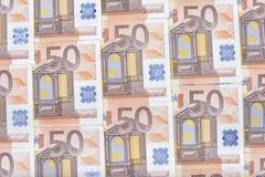 Textur av femtio eurosedlar Arkivbild
