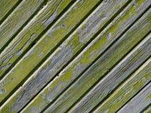 Textur av gamla grå färger gör grön väggen av diagonala träbräden royaltyfri bild