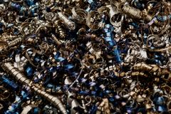 Textur av metallshavings industriell abstrakt bakgrund Fotografering för Bildbyråer