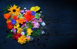 Textur av olika trädgårds- blommor, bästa sikt arkivfoto