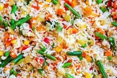 Textur av ris med grönsaknärbild royaltyfri fotografi