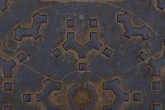 Textur av rostig och röd korrugerade metallplattan den lucka, Original- bakgrund för text arkivfoto