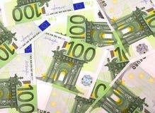 Textur av sedlar på euro 100 Royaltyfri Bild