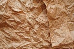 Textur av skrynkligt kraft papper för bakgrund Arkivfoto