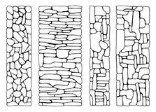 Textur av stenar vägg från fastställd vektor för tegelstenar stenlagt framlänges stena stock illustrationer